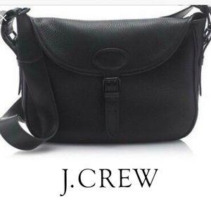 J. Crew Black Leather Canyon Hobo Messenger EUC